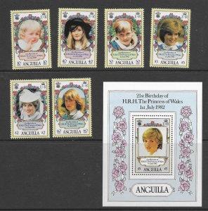 Anguilla 485-90 1982  set 6 & S/S  VF  NH