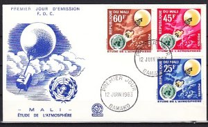 Mali, Scott cat. 45-47. W.M.O. Weather issue. First day cover. ^
