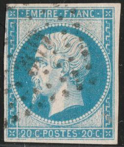 FRANCE - Yv.14 20c bleu - obl. PC369 (Bergerac) - TB (filet non touché)