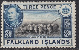 Sc# 87A Falkland Islands 1941 KGVI used 3 pence issue CV: $8.50