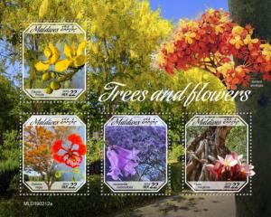 MALDIVES - 2019 - Trees and Flowers - Perf 4v Sheet - MNH