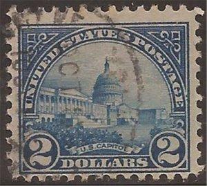 US Stamp - 1923 $2 U.S. Capitol - Perf 11 Stamp Used - Scott #572