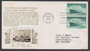 USA 1946 Merchant Marine Crosy photo FDC to New Zealand.....................M128