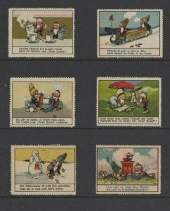 Germany -Vignette of 6 Advertising Stamps Aecht Frank - Dwarves with Coffee