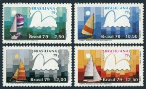 Brazil 1608-1611,MNH.Michel 1704-1707. BRAZILIANA-1979.Yachts and stamp.