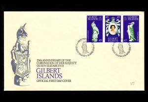 Gilbert Islands – Scott #312a-c (Coronation Anniversary) FDC