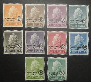Christmas Island 1-10. 1958 2c-$1.00 QE, NH