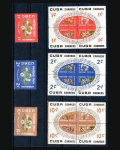 VINTAGE:CUBA 1960 3 BLKS 4 + OG,NH CAT652A-57A LOT CUC1960A