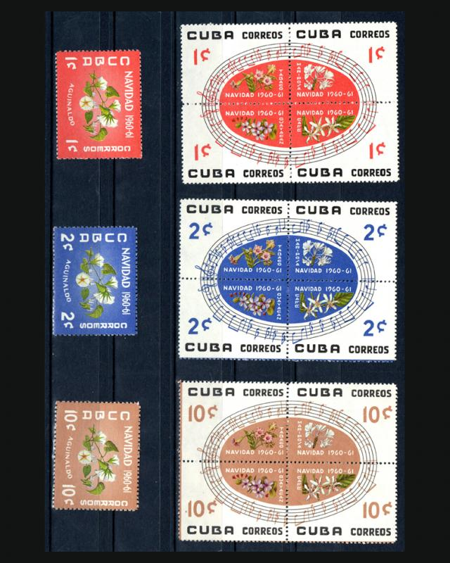 VINTAGE:CUBA 1960 3 BLKS 4 + OG,NH CAT652A-57A LOT CUC1960A