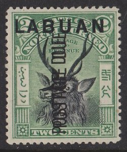 Labuan : 1901 postage Due Stag 2c ERROR opt DOUBLE . SG D1a cat £350 .