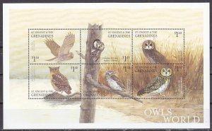 St. Vincent. Scott cat. 2887 a-f. Owls of the World sheet of 6. ^