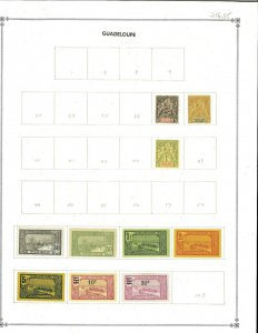 Guadeloupe 1892-1939 Mint & 1 Used Hinged on a Blank Scott International Page