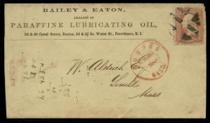 #65 W/ FANCY CNL ON BAILEY & EATON PARAFFINE LUBRICATING OIL ADVT COVER BQ2419