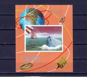 Manama, Mi cat. 211, BL I35 A. Apollo 9 Red o/print on Space s/sheet. ^