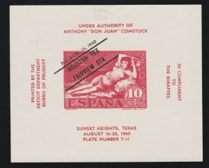 US 1940 Houston Tx Fairview Station Goya Nude Souvenir Sheet VERY SCARCE!
