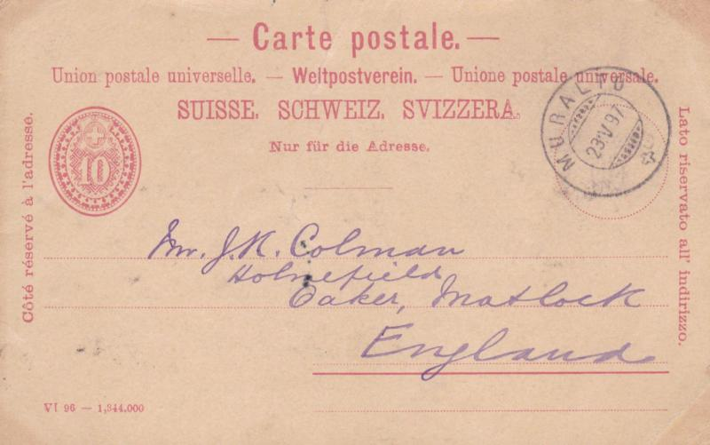 Switzerland 1897 Muralto to England Postcard used VGC