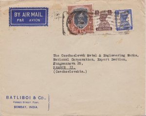 India 1R, 4a and 3 1/2a KGVI 1947 Bombay R.M.S. Airmail to Prague, Czechoslov...