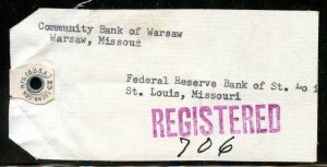U.S. Scott 832 (2) and 830 (2) Prexies On Registered 1955 Missouri Bank Tag