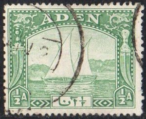 Aden 1937½a yellow-green (Dhow) used
