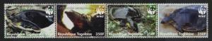 Togo WWF Senegal Flapshell Turtle Strip of 4v MI#3337-3340 SC#2039a-d