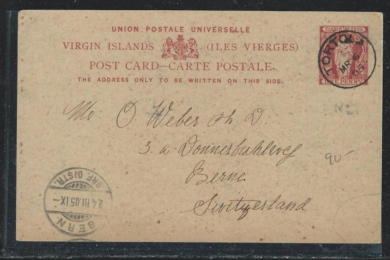 VIRGIN ISLANDS (P2712B) 1D PSC WITH LONG MSG TO SWITZERLAND