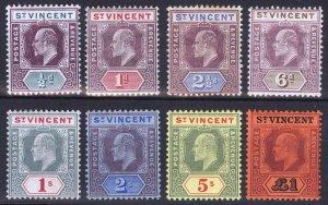 St Vincent 1904 1/2d-£1 EVII Multi CA SG 85-93 Sc 82-89 LMM/MLH Cat £350($455)