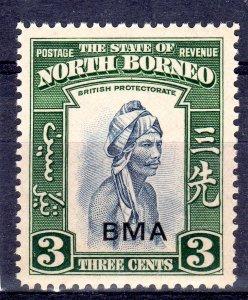 NORTH BORNEO 1945 optd  BMA  3 cent   NH   unmounted mint