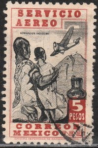 MEXICO C73, $5P NATIVE WOMEN AND AIRPLANE. USED. F-VF. (566)