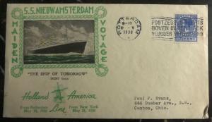1938 Rotterdam Maiden Voyage Cover To Canton Ohio USA SS Nieuw Amsterdam