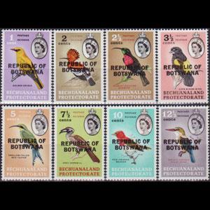 BOTSWANA 1966 - Scott# 5-12 Birds Opt. 1-12.5c NH
