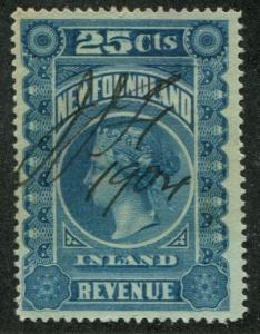 Newfoundland NFR #3 Inland Reveue 25c 1904 Pen Cancel