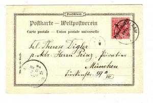 GERMAN EAST AFRICA Card Dar-es-Salaam CATHOLIC MISSION Cachet Munich 1898 SOc6