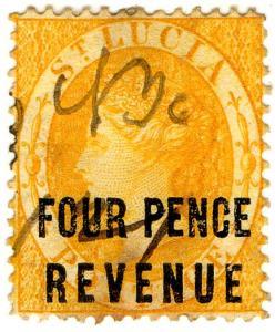 (I.B) St Lucia Revenue : Duty Stamp 4d