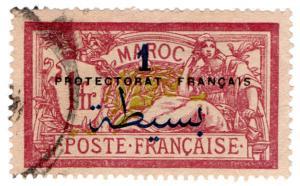 (I.B) French Morocco Postal : 1Fr on 1Fr Overprint