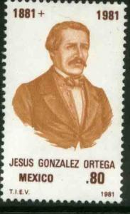 MEXICO 1227 DEATH CENTENARY of Jesus Gonzalez Ortega MINT, NH. VF.