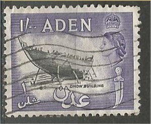 ADEN, 1953, used 1sh, Dhow building., Scott 55A