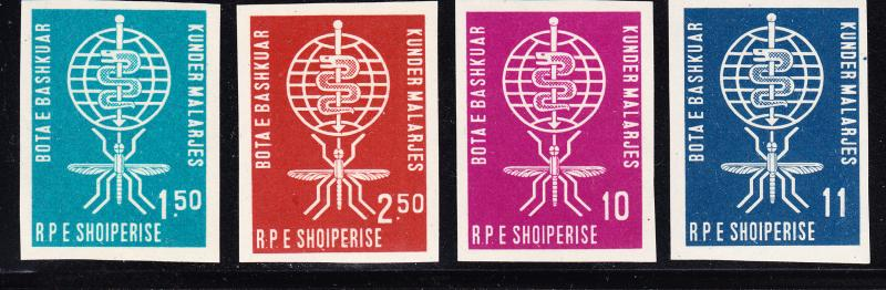 Albania IMPERF set complete (4) WHO Anti-Malaria VF/NH(**)