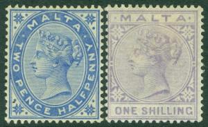 EDW1949SELL : MALTA 1885 Scott #11, 13 Both VF MOG #11 w/pen id on gum Cat $110