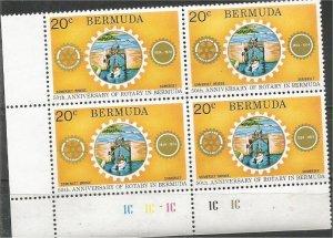 BERMUDA, 1974 MNH 20c block Rotary Emblem. Scott 310