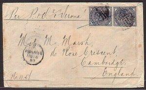 MALAYA PENANG 1887 20c rate cover per P&O ship SS Verona to UK.............34662