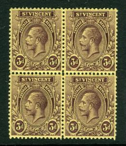 ST. VINCENT; 1921 early GV issue fine Mint hinged 3d. Block of 4