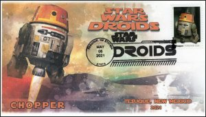 21-121, 2021,Star Wars Droids, Chopper, Event Cover, Pictorial Postmark, Tesuque