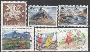 Iceland #675-80 F-VF Used  CV $13.35 (S1676)