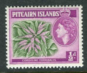 PITCAIRN ISLAND; 1957 early QEII issue fine Mint hinged 1/2d. value