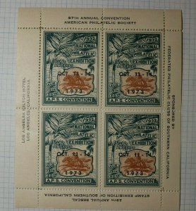 APS Convention 1973 overprint 1932 LA CA Philatelic Souvenir Ad Label Sheet SS