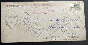 1938 Suva Fiji Navigation Co Tin Can Canoe Mail cover To Niuafoou Tonga Toga