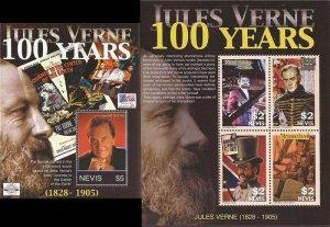 Nevis - 2005 Jules Verne Anniversary - 4 Stamp Sheet + Souvenir Sheet #1454-5
