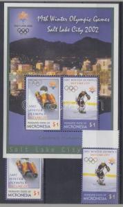 Micronesia stamp Winter Olympics Salt Lake City margin set + block MNH WS126503