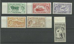 FALKLAND ISLANDS 1955/7 Set of 6, Sg 187-192, Unmounted Mint. ( Box 5-10}