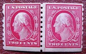 USA 393: 2¢ Washington, coil paste-up pair, MNH, F-VF, OG
